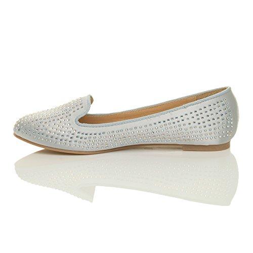 Diamante Flache Damen Schuhe Ajvani Braut Pumps Silber Ballerina Prom Dolly Abend Größe Damen Hochzeit P6n65xrt