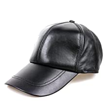 Xinyian Women's Men's Real Sheepskin Leather Baseball Cap Adjustable Black