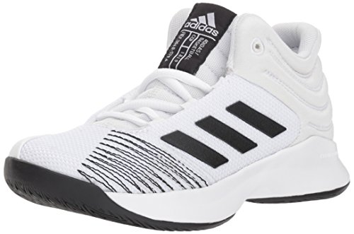 - adidas Unisex Pro Spark 2018 K Wide Basketball Shoe, White/Black/Grey one, 1 M US Little Kid