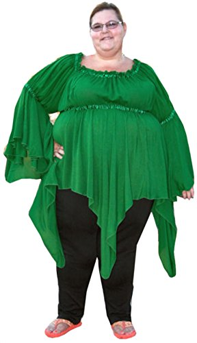 Renaissance Plus Size Pixie Gypsy Top by BBW Boutique in Emerald Green - Size 7X/8X