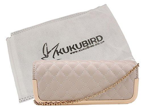 à Clutch sac Kukubird Kukubird Prom Party Quilted Bag Natural Purse poussière mince Ruby avec pxZxtv4