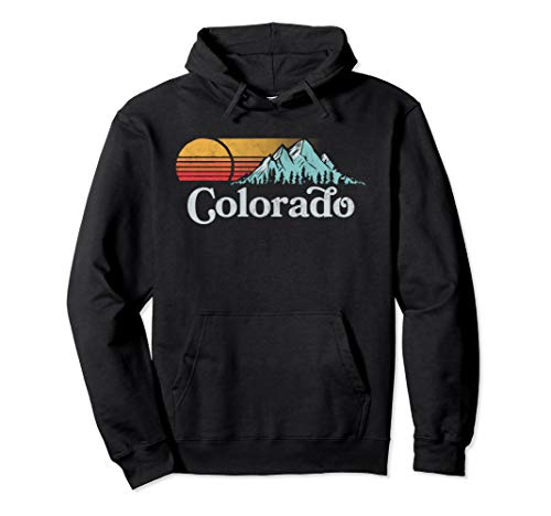 Retro Vibe Colorado Hoodie - Vintage Mountain Sun Sweatshirt