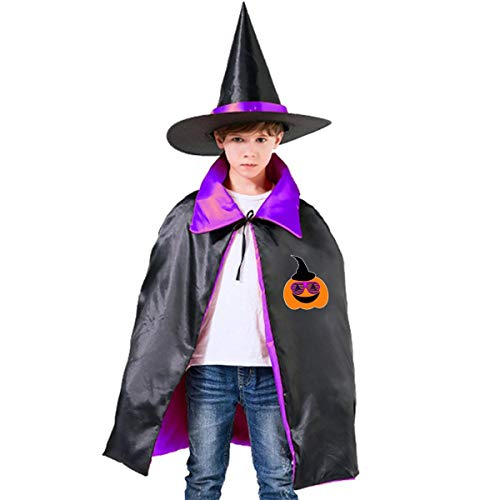 Halloween Children Costume Funny Halloween Pumpkin Wizard Witch Cloak Cape Robe And Hat -