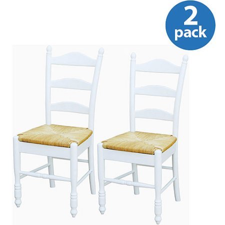 Traditional Design Ladder Back Rush Seat Chairs, Solid Rubber Wood Construction with Shiny Finish, Excellent Spine Support for Maximum Back Comfort, Set of Two, Multiple Colors + Expert Guide (Seats With Rush Back Ladder Chairs)