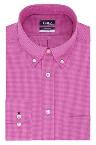Mens gingham dress shirt pink