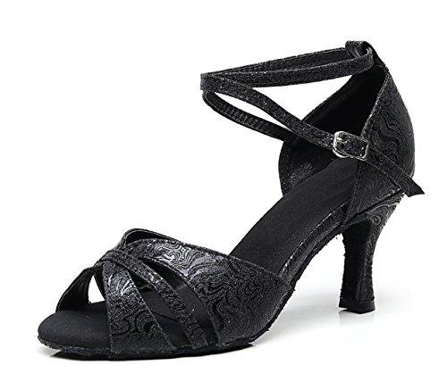 Minitoo Paillettes 6 Salon Cheville Salsa Chaussures Noir Au Danse Royaume uni Latine Sangle Dames Mariage Sandales De rxaqnBr