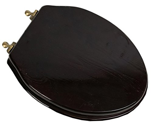 Bath Décor 5F1E2-18AB Elongated Toilet Seat in Traditional Design with Antique Brass Metal Hinges, Dark Brown Stained Finish