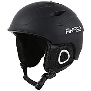 AKASO Ski Helmet, Snowboard Helmet Climate Control Venting, Dial Fit, Goggles Compatible, Removable Fleece Liner Ear Pads, Safety Certified Snow Helmet Men & Women