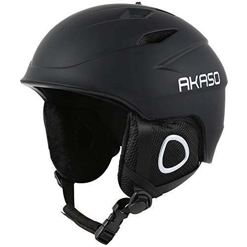 (AKASO Ski Helmet, Snowboard Helmet - Climate Control Venting, Dial Fit, Goggles Compatible, Removable Fleece Liner and Ear Pads, Safety-Certified Snow Helmet for Men & Women)