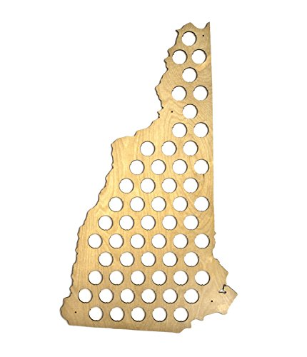 All 50 States Beer Cap Map - New Hampshire Beer Cap Map NH - Glossy Wood - Skyline Workshop Brewery Bottle