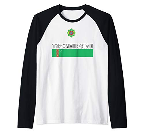 Cyrillic Sports-style Flag and Crest of Turkmenistan Raglan Baseball Tee