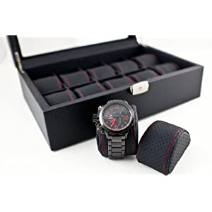 Caddy Bay Collection Black Carbon Fiber Pattern Watch Box Display Storage Case with Glass Top, Red Stitching Perforated Soft Pillows – Holds 10 Watches