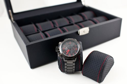 Caddy Bay Collection Black Carbon Fiber Pattern Watch Box Display Storage Case with Glass Top, Red Stitching Perforated Soft Pillows Holds 10 Watches - Red Stitching by Caddy Bay Collection (Image #1)