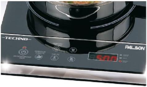 Palson Techno - Placa de inducción, display digital, selector electrónico de temperatura, tiempo y potencia, 30 x 35 cm, 2000 W,color negro