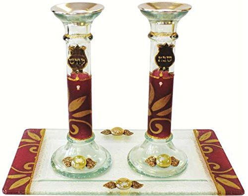 5th Avenue Collection Candle Stick With Tray Large Applique - Burgundy - Tray 10