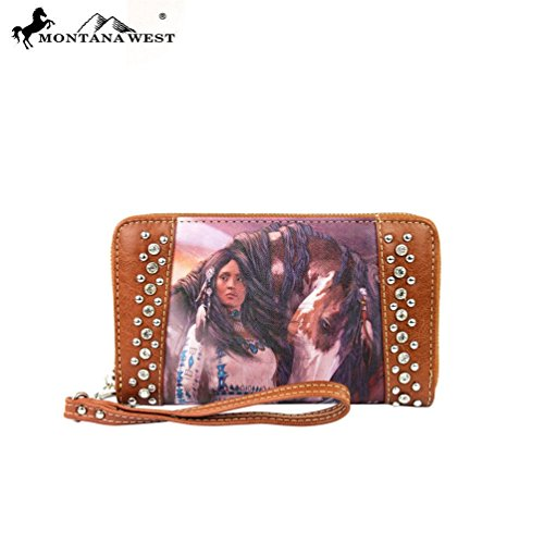 MW170-W003 Montana West Horse Art Wallet-Laurie prindle Collection-Brown
