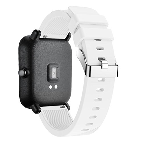 Silicone Strap Sports Band for Xiaomi Huami Amazfit Bip BIT PACE Lite Youth Smart Watch Band Replacement Bracelet Wrist Band Watch Strap (White)
