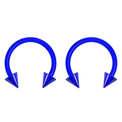 2pc 16g Dental-Grade Acrylic Blue Horseshoe Hoop 3mm Spike Circular Barbells Earrings Cartilage Helix Septum Nose Lip Rings - 8mm