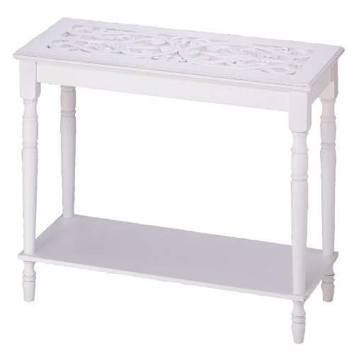 Home Accent White Wood Carved Top Sofa Console -