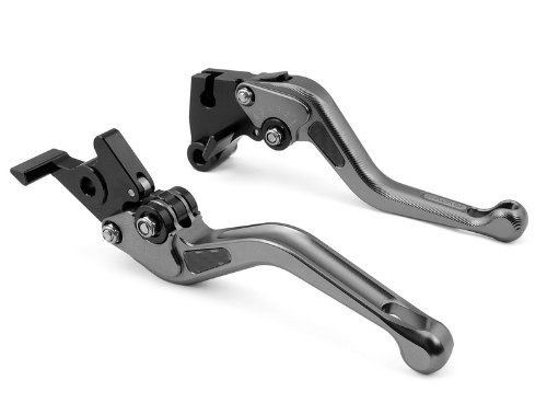 1 Pair Motorcycle Motor OEM Style CNC Aluminum 3D Short Style Clutch & Brake Levers Carbon Fiber Gray Fit For Ducati SPORT 1000 2006 2007 2008 2009 (DC-80/DB-80)