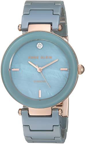 Diamond Dress Accented Watch - Anne Klein Women's AK/1018RGLB Diamond-Accented Rose Gold-Tone and Light Blue Ceramic Bracelet Watch