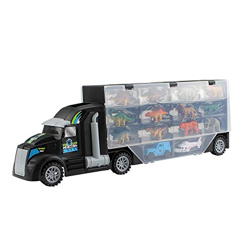 Dinosaur and Animal Transport Vehicle Giant Transport Truck with Toys Includes 12 Dinosaurs 12 Animal 2 Jeep and 2 Helicopter 15 Style in 1 Gift for Kid Children Boys Girls ()