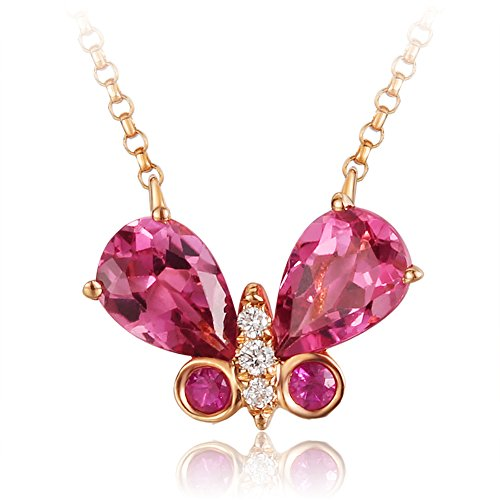(Carleen 18K Rose Gold 0.938ct Natural Tourmaline Butterfly Pendant Women Necklaces 0.017cttw)