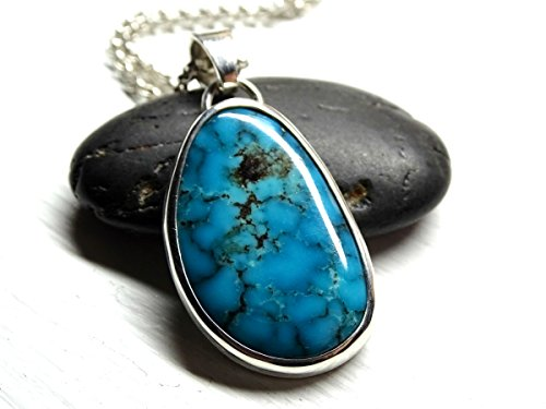 oise pendant silver, blue turquoise necklace men turquoise pendant, rare turquoise pendant, mens necklace Birthstone ()