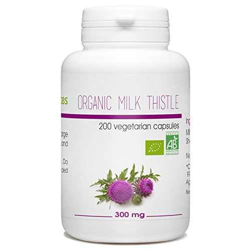 Organic Milk Thistle seed - 300 mg per capsule - 200 Vegetarian Capsules - Edge Milk Glass