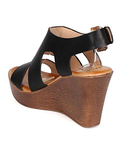 Dbdk Eh37 Dames Kunstleer Open Teen Gekooide Houten Platform Wedge Sandaal Zwart