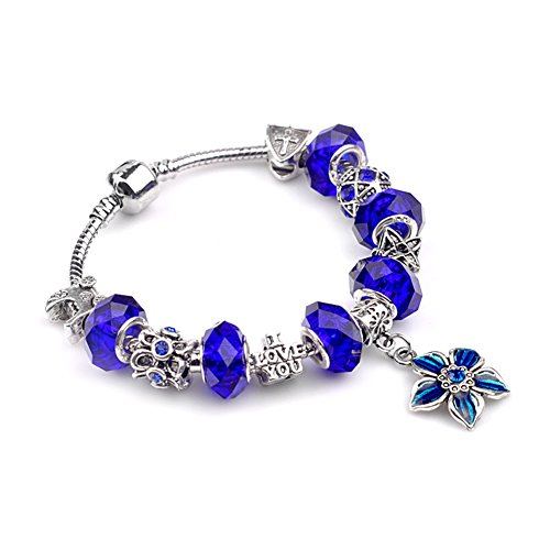 BENNINGCO Womens Flower and Cross Design Fashion Charm Crystal Bracelet(Blue,19CM) (Homemade Baby Butterfly Costume)