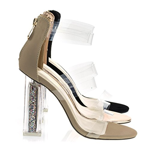 See W Natural Perspex Sandal Glitter Heel Block Static Plexiglas X2B Dress Clear Through Footwear tvUqO4