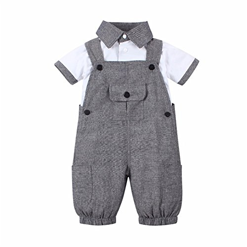 Isugar Baby Boy 2 Piece Short Sleeved Gentleman T-Shirt Overalls Outfit Set (0-6 Months)