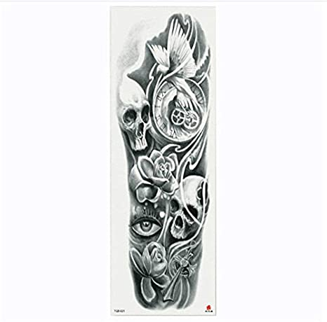 yyyDL Full Flower Arm Tattoo Sticker Esqueletos y rosas Cuerpo ...
