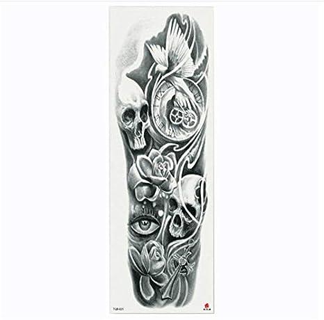 yyyDL Full Flower Arm Tattoo Sticker Esqueletos y rosas Cuerpo ...