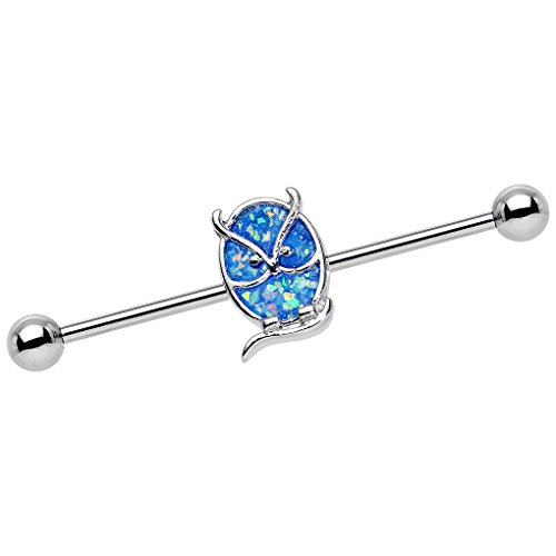 Body Candy Stainless Steel Brilliant Blue Salty and Serious Owl Industrial Barbell 14 Gauge (Owl Industrial Barbell)