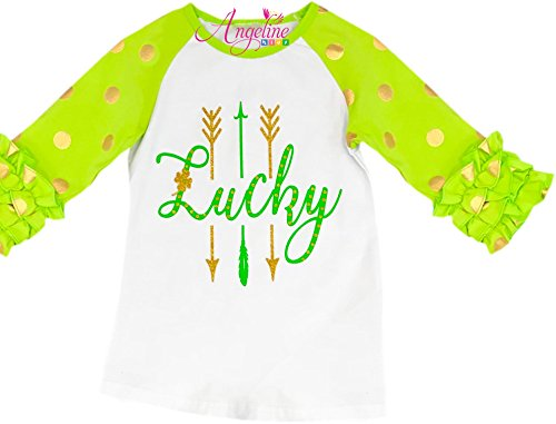 Price comparison product image Boutique Clothing Girls ST. Patrick's Day Lucky Ruffles Sleeves Raglan Tee Top T-Shirt 8/3XL
