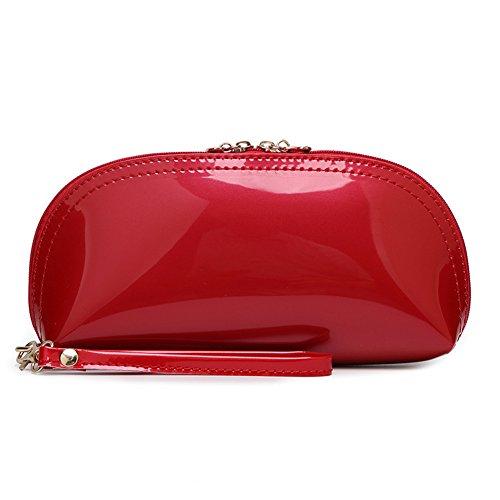 Happy Lily - Cartera de mano con asa para mujer, rosa (b) (turquesa) - fauxpatentleatherclutchRose Red