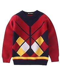 MFrannie Boys Western Style Argyle Crew Neck Autumn Knitted Sweater