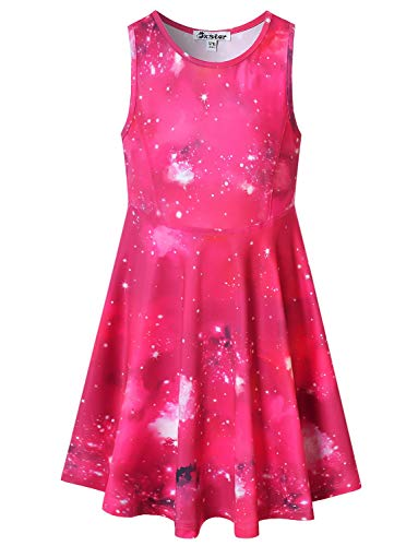 Little Girls Dresses Starry Outfits Casual Party Galaxy Clothes for Kids Red -