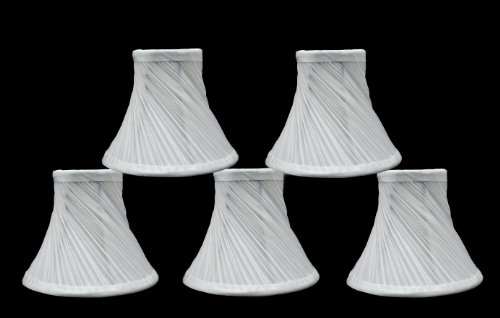 (Urbanest Set of 5 Swirl Pleated Chandelier Lamp Shades 6-inch, Bell, Clip On, Off White)