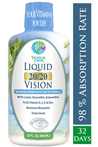 Liquid 20/20 Vision - Eye Vitamin Formula w/20mg Lutein, 4mg Zeaxanthin, 4mg Astaxanthin for Vision Support -Max Absorption- Great Taste  No Pills to Swallow- 32 Serv, 32oz