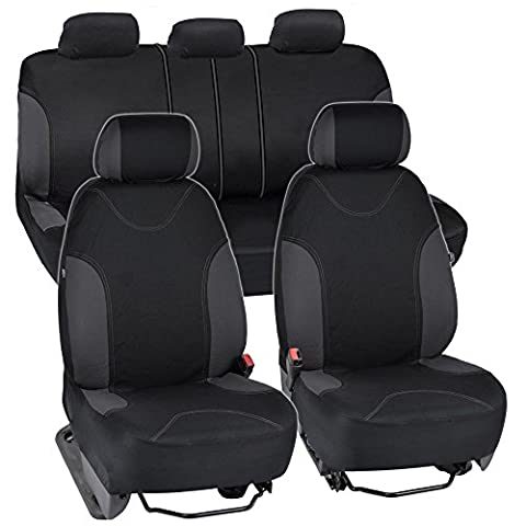 BDK Charcoal Trim Black Car Seat Covers with Split Option Bench, 5 Headrests Front & Rear Bench, 9pc - 2005 Cadillac Cts