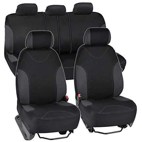 BDK Charcoal Trim Black Car Seat Covers Full 9pc Set - Sleek & Stylish - Split Option Bench 5 Headrests Front & Rear Bench