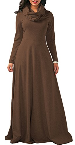 Dress Dress Clubwear Formal Sleeve Color Evening Didala Party Long Solid Long Womens Scarf Sexy Brown xPwP1OZUq