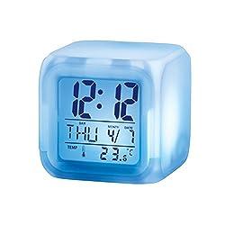 Color-changing Digital Alarm Clock, White