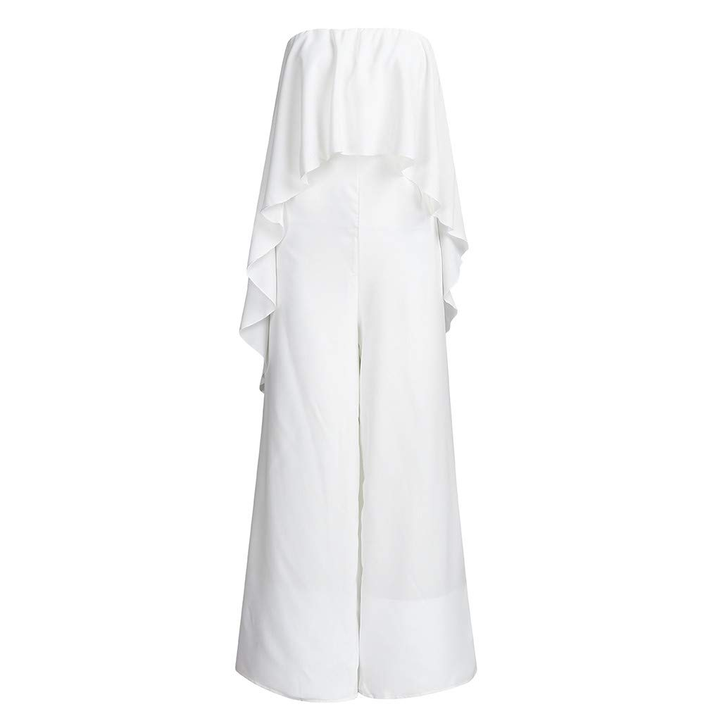 TANLANG New Women Elegant and Flowy One-Piece Dress with A Collar and Off-The-Shoulder Long Pant Solid Color Long Jumpsuit White by TANLANG (Image #2)