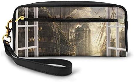 長財布 ポーチ 3D 窓 海賊船 レザーバッグ 化粧バッグ おしゃれ かわいい 小型バッグ ペンケース クラッチポーチ メイクポーチ