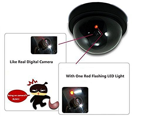 WALI Dummy Fake Security CCTV Dome Camera with Flashing Red LED Light With Security Alert Sticker Decals (SD-4), 4 Packs, Black