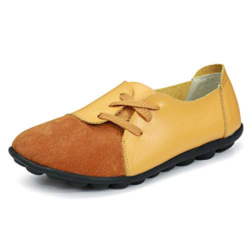 labato Women's Leather Loafers Comfy Slip-on Shoes Casual Strap Flats Shoes Breathable Driving Shoes(7.5 M US,Yellow) ()